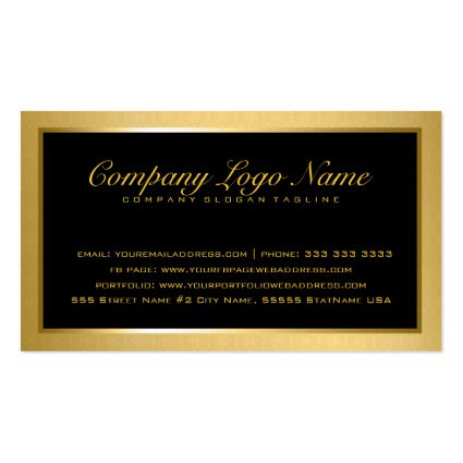 Plain Elegant Metallic Gold And Black 2 Business Cards