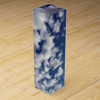 Puffy Clouds On Blue Sky Wine Box