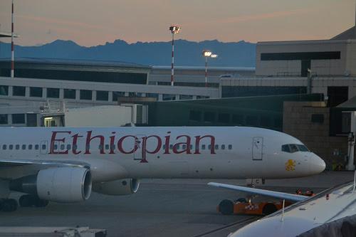 Ethiopian Airlines B757 at Milan Malpensa Airport