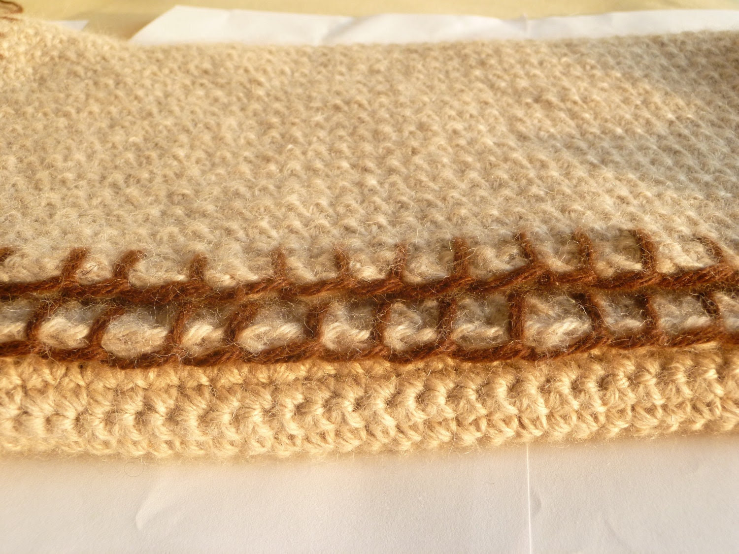 Large Blanket, Crochet, Contrast Border, 50in x 60in, Pure Alpaca, luxury blanket, Made-to-Order, Charitable Donation