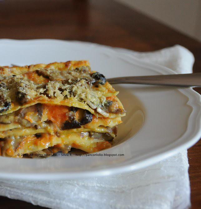 lasagna con zucca e funghi