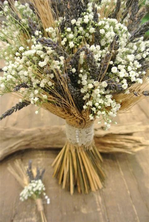 Rustic bridal bouquet with wheat, lavender and baby's