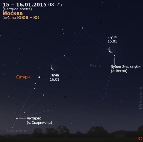 Убывающая Луна и Сатурн на утреннем небе Москвы 15–16 января 2015 г.