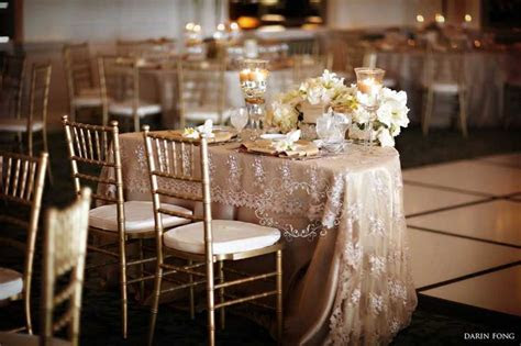 Champagne linen with lace overlay.   Linens we carry and