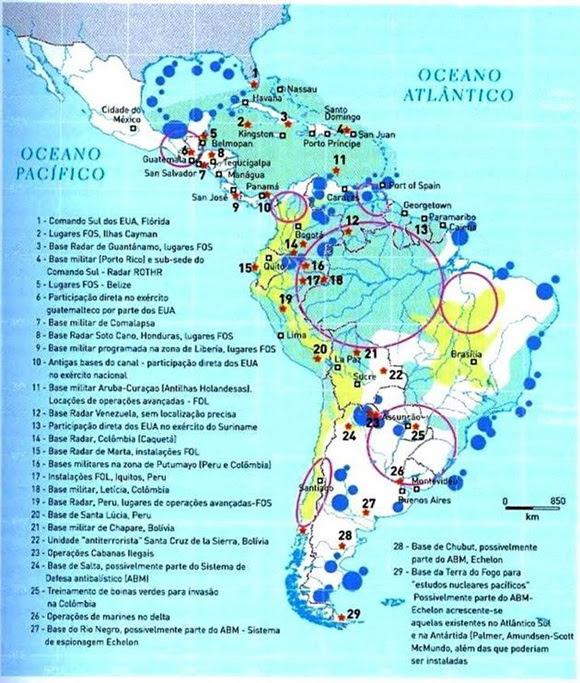 Bases militares norteamericanas en América Latina y el Caribe.