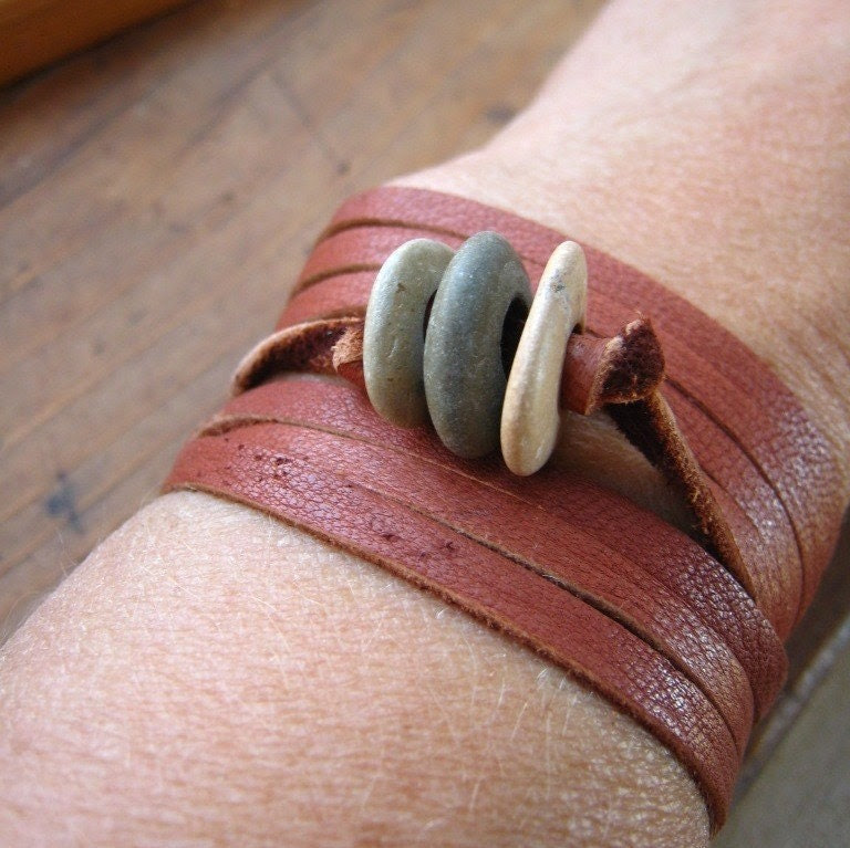 Rocks and Leather wrap -- trio of rocks on butter soft cinnamon colored deerskin suede lace bracelet
