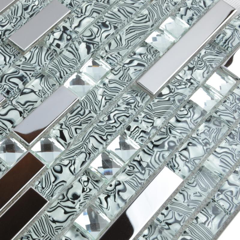 Glass Mosaic Tile Backsplash Interlocking Metal Glass Diamond Tws052