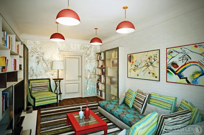 This version of the same room takes things a little further, providing inspiration of how to push on those boundaries a little harder by introducing colored pendant lights and sofa slipcovers.