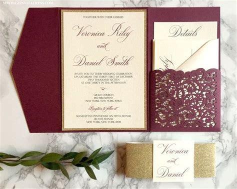 Burgundy Laser Cut Pocket Wedding Invitation, Burgundy and