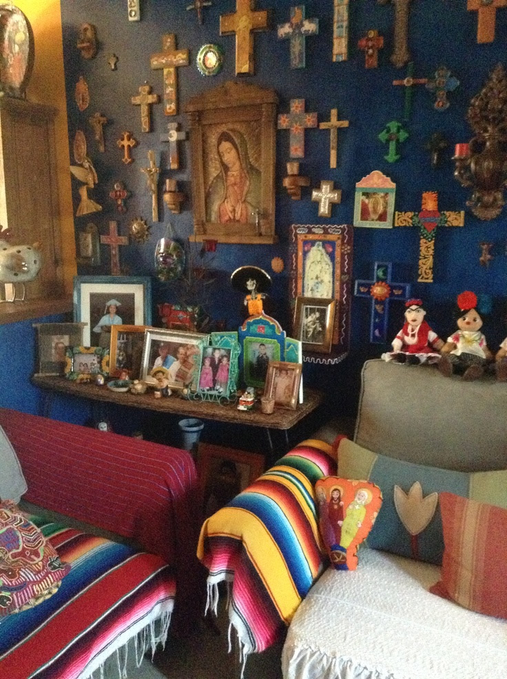 Holy Amazing Alter Cross Blue Wall In Living Room Mexican Living Rooms Mexican Home Decor
