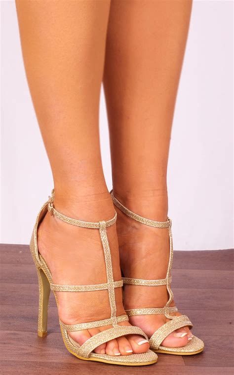 gold glitter metallic strappy sandals stilettos high heels