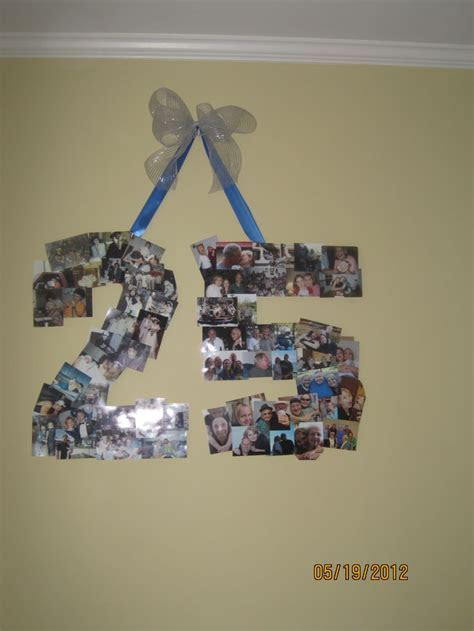 """A collage of pictures in the shape of the number """"25"""" for"""