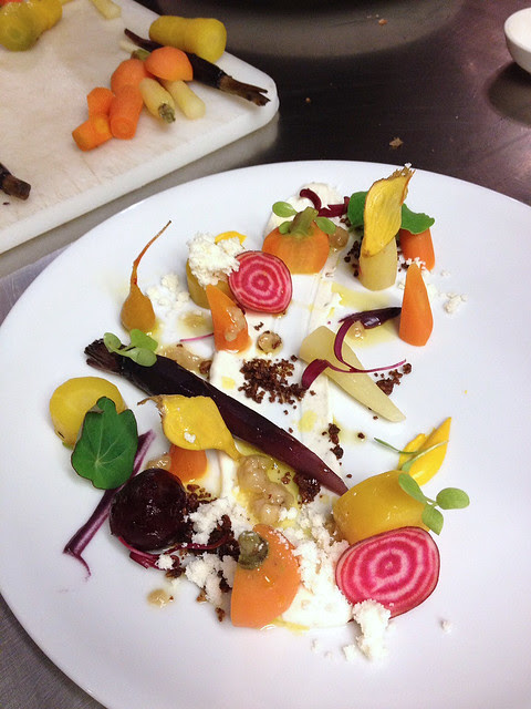The chef's plate of heirloom carrots