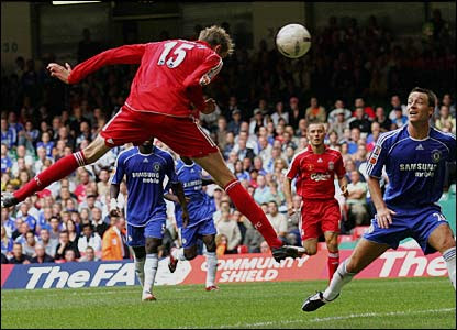 Peter Crouch heads home past John Terry