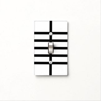 5 Bisected Black Lines Light Switch Plates