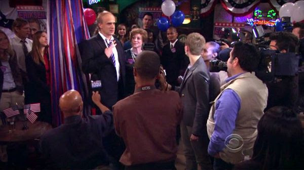 Another screenshot from HOW I MET YOUR MOTHER (Episode 9.18 - 'Rally' - Original Air Date: February 24, 2014). I played one of Marshall's election campaign workers.