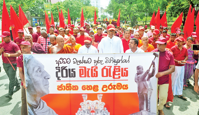 The Jathika Hela Urumaya (JHU) May Day rally was held in Colombo yesterday under the leadership of Minister Patali Champika Ranawaka. Picture by Mohammed Imitiyaz, Colombo Central Special Corr.