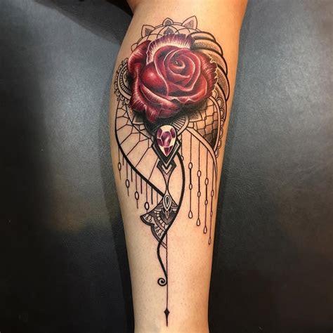 elegant ornamental rose jewel tattoo design ideas