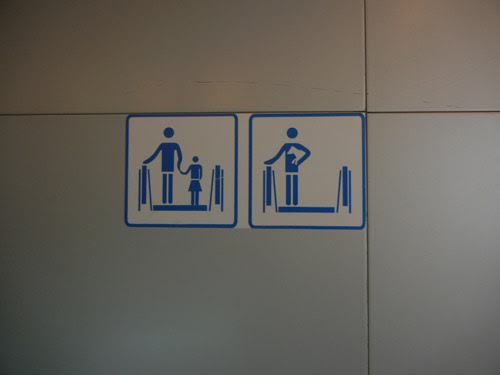 Sign of Holding Dog on Escalator in a Museum, Shenyang, China _ 9745