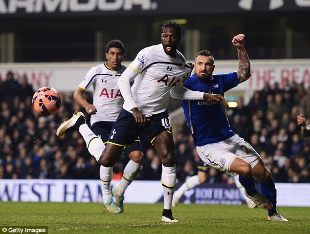 Adebayor (centre) hasn't played since last season and was released by Tottenham in September