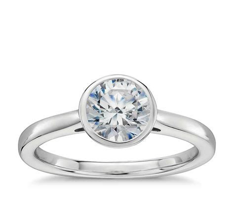 Bezel Set Solitaire Engagement Ring in 14k White Gold