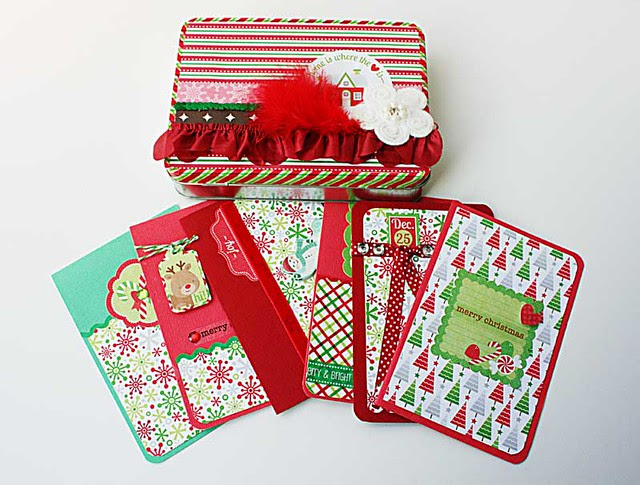 Upcycled-tin-box-of-Christmas-cards