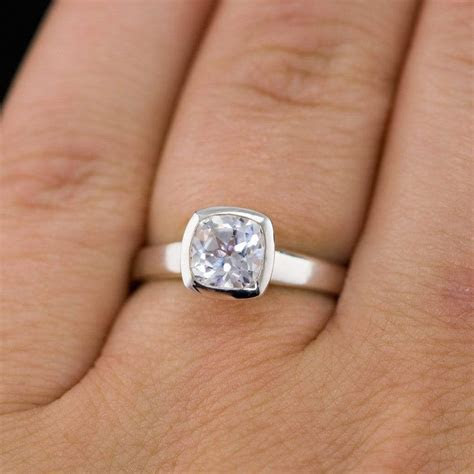Lab Created Cushion White Sapphire Bezel Solitaire