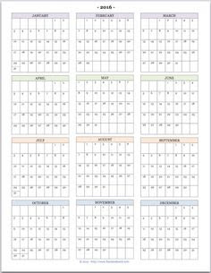2016 Year on Page Printable Calendars are Here! | Desk calendars ...
