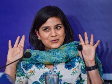 Iltija Mufti, daughter of PDP leader Mehbooba Mufti speaks during a press interaction in New Delhi. PTI