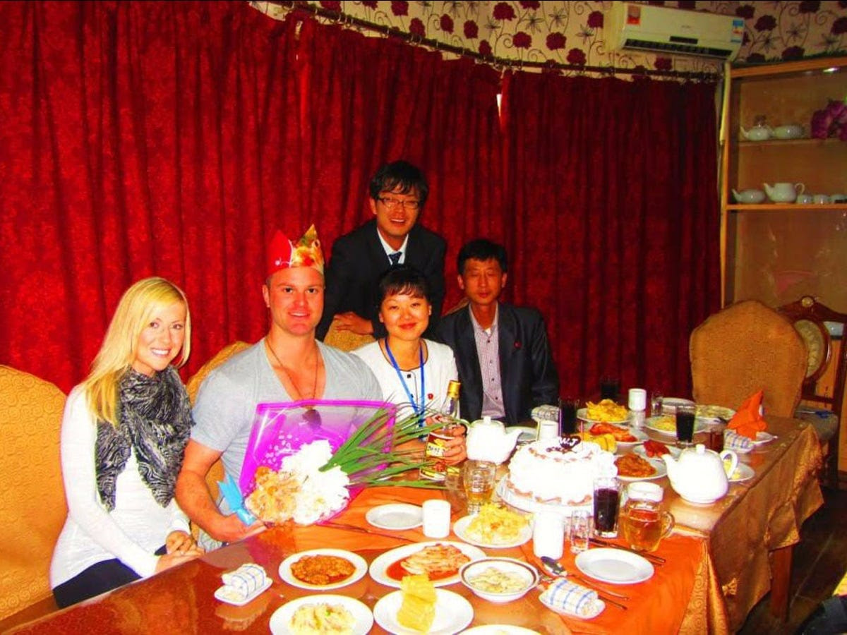 Since the couple had celebrated Justin's birthday every year since they met, Anna arranged a special celebration at Chongryu Hotpot Restaurant with their government minders.