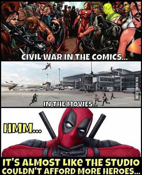 A meme showing DEADPOOL poking fun at the fact that CAPTAIN AMERICA: CIVIL WAR won't depict a true civil war between Marvel superheroes.