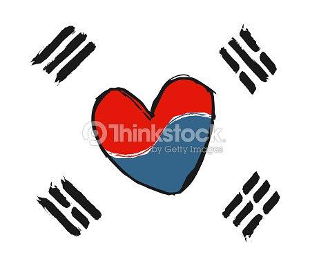 韓国語の愛のシンボル国旗韓国の国旗の色に赤と青の心のサインを手書き