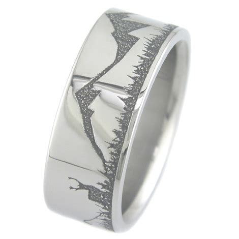 Titanium Deer Hunter Archery Wedding Band   Titanium Buzz
