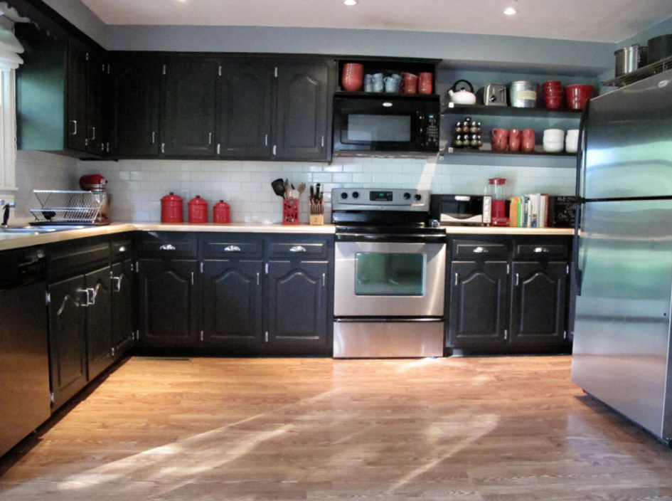 Black Painted Kitchen Cabinets - Home Furniture Design