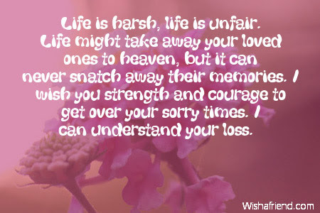 Life Is Harsh Life Is Unfair Sympathy Card Message