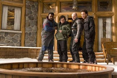 Craig Robinson, Clark Duke, Rob Corddry and John Cusack freak out over a hot tub in HOT TUB TIME MACHINE.