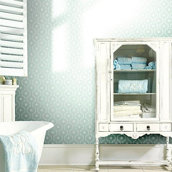 Postcards from the Ridge: Using furniture in the bathroom for linen storage