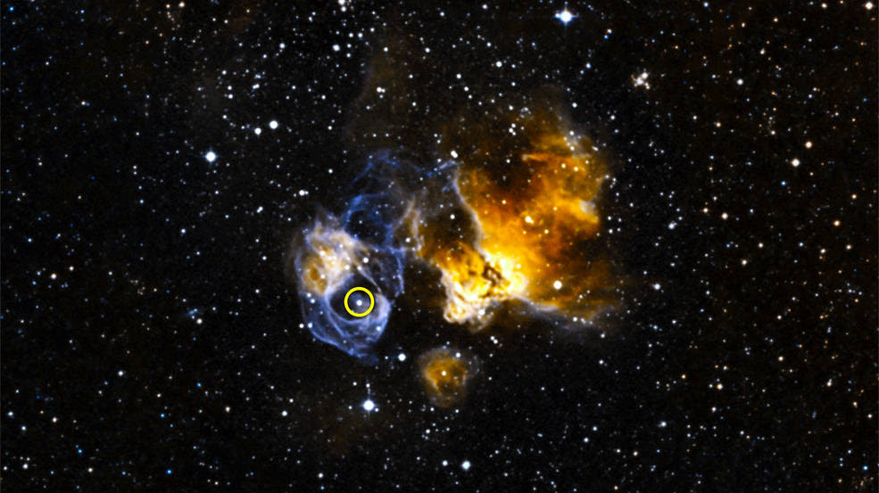 LMC P3 (circled) is located in a supernova remnant called DEM L241 in the Large Magellanic Cloud
