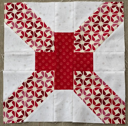 For handmaderetro, x and + blocks for 4x5 bee, 3rd quarter