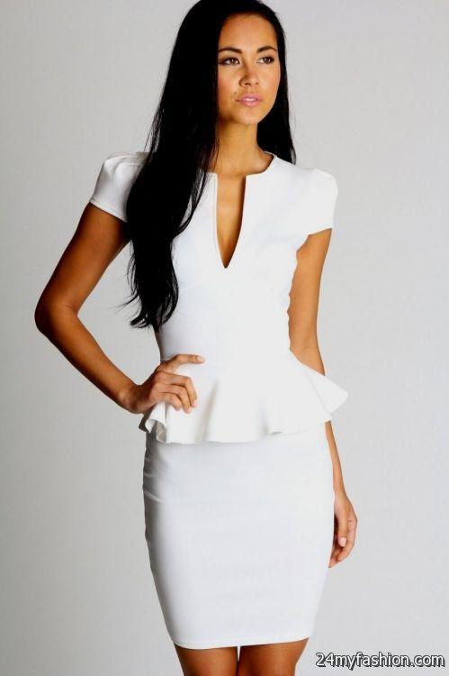 white fitted peplum dress 2016 2017 2