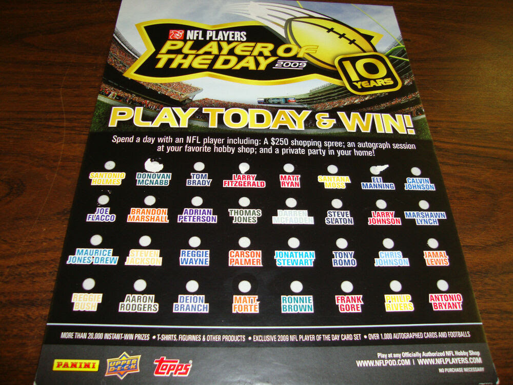 2009 NFL Player Of The Day PromotionStandUp Counter Display  eBay