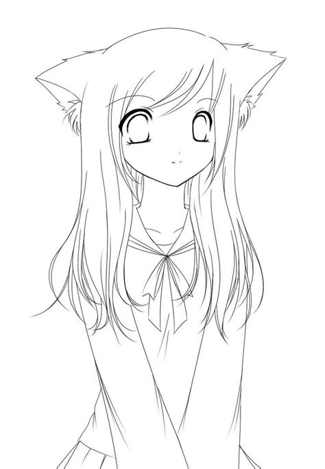 anime cat girl coloring pages easy cartoon drawings