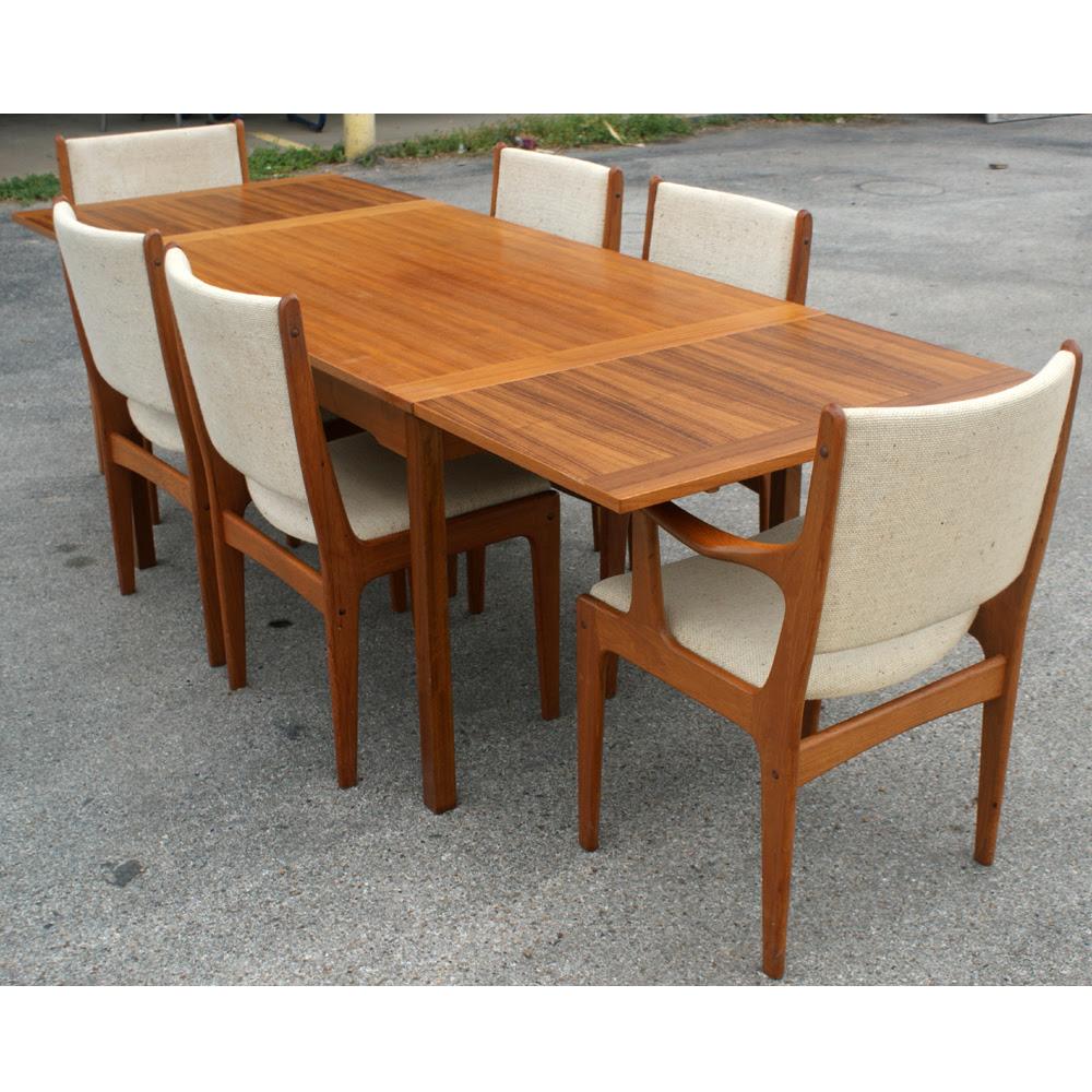 Danish Style Solid Teak Expandable Dining Set   eBay