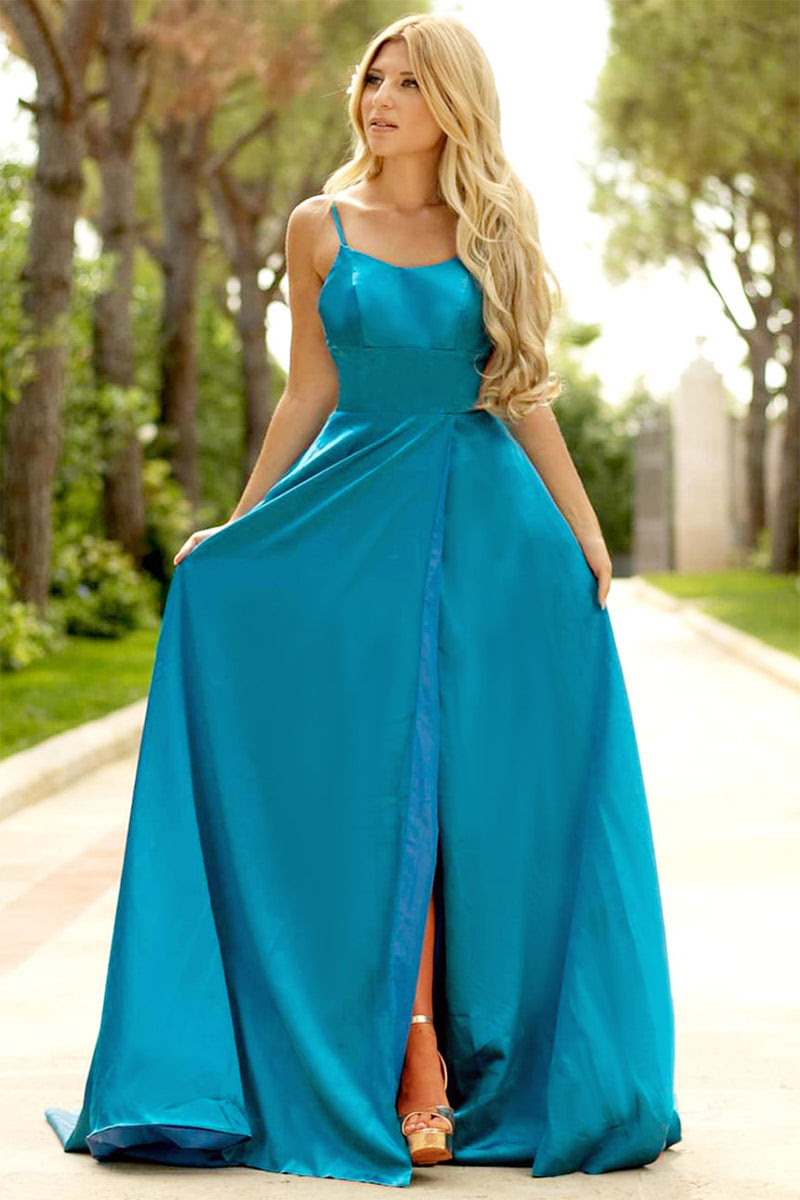 blau satin ballkleid
