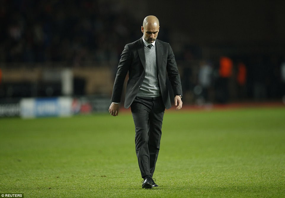 Guardiola trudges across the pitch and down the tunnel at half-time after watching his City side concede twice in the first 45