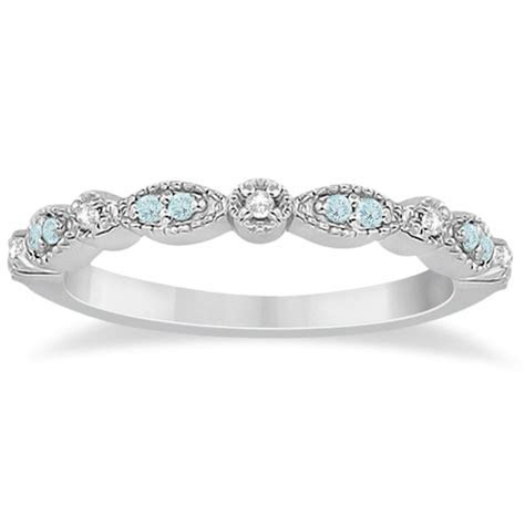 Marquise & Dot Aquamarine Diamond Wedding Band 14k White