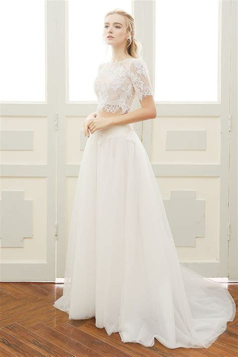 Chic A Line Short Sleeve Vintage Lace Tulle Two Piece