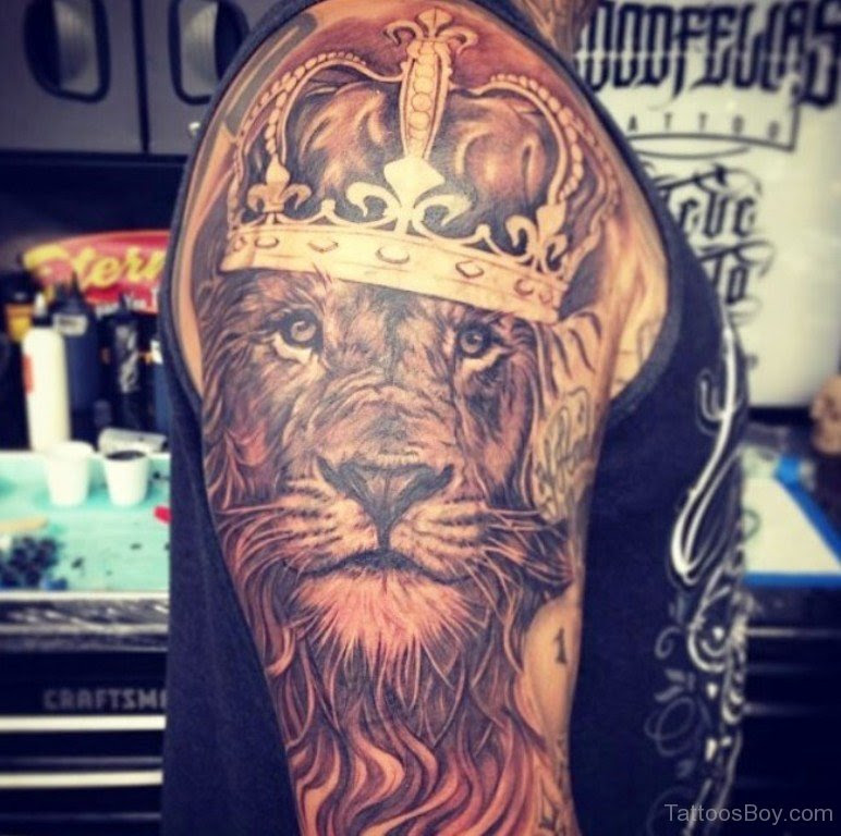 Lion And Crown Tattoo On Half Sleeve Tattoo Designs Tattoo Pictures