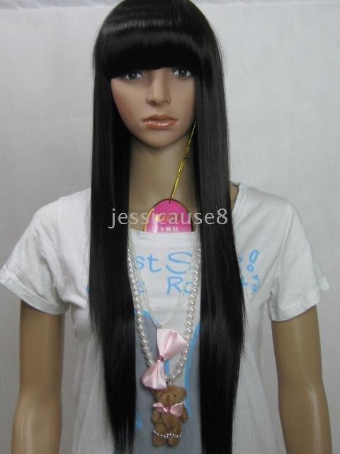 Long Black Hair Fringe