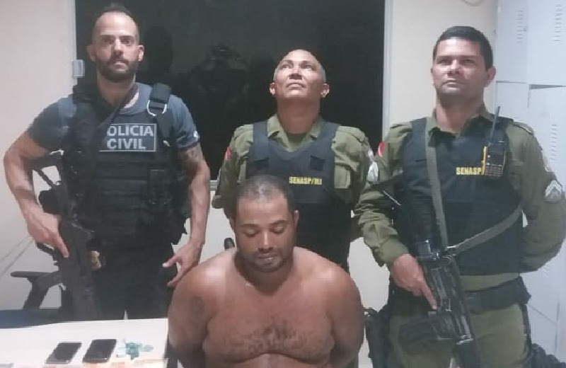 A Prisão teve no comando da Guarnição do Sargento Cruz ,  Cb Derivaldo e J. Lima e Investigador Mauro da policia civil. (Foto Divulgação Policia)